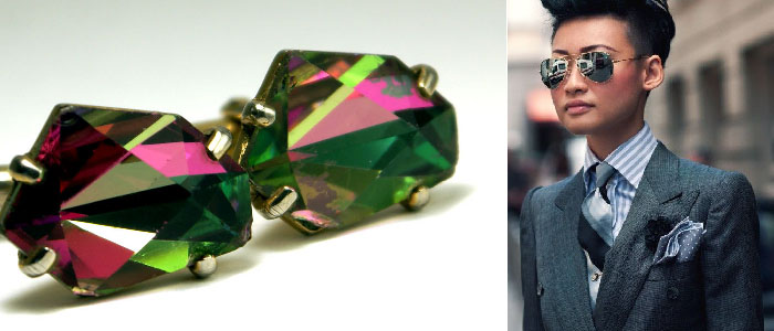 Esther Quek can rock a suit! www. estherquek .com/ A fearless lady,  Esther Quek  is the distinguished group fashion and beauty director of luxury publications. Featured are a pair of amazing watermelon crystal cufflinks for ladies.
