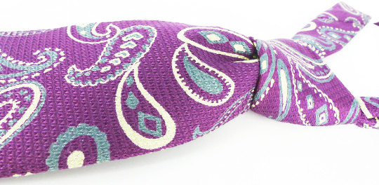 """Vintage excellence! Woven silk in a gray and purple paisley. Only the """"pick of the litter"""" best of vintage necktie selectionin our Etsy store."""