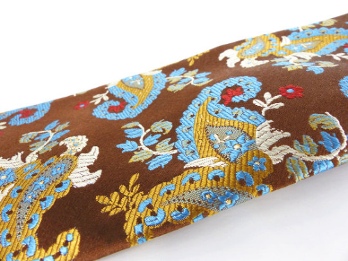 Rare find! Vintage Extra long Ben Sherman woven silk necktie in a chocolate brown, red and baby blue floral paisley