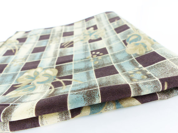 Aqua and dark chocolate checkered floral patterned silk pocket square.