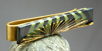 Lime green and black German pressed glass, brass slip style tie bar