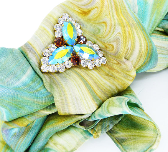 "Magnetic brooch shown as a scarf pin, so you don't poke holes in your beautiful silk fabric. ""Chick Magnet"" MagTAK"