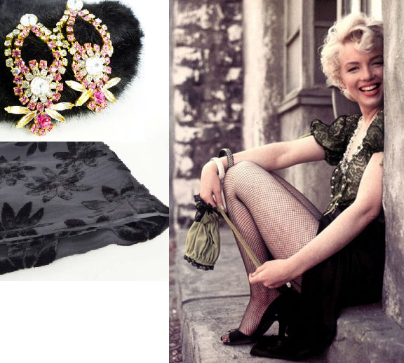 Classic feminine touches. Cut black silk velvet scarf and crystal rhinestone chandelier earrings in vanilla & pink.