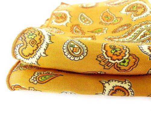 Gold & burnt orange mod paisley silk pocket square. Mr & Mrs Renaissance