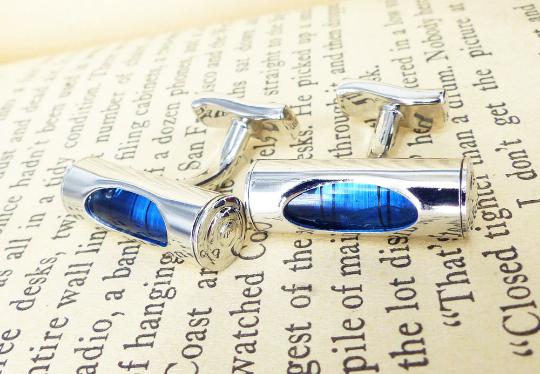 Mechanical blue spirit level silver set of cufflinks. Rare & antique cufflinks MRM-accessories.com