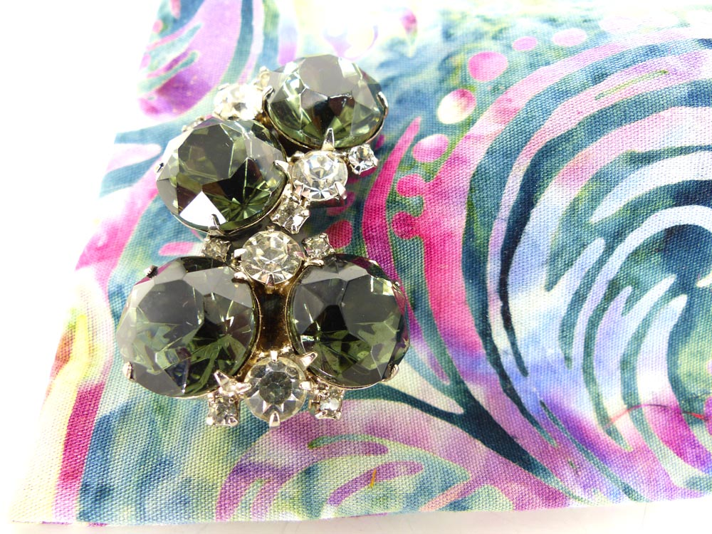 Magnetic smokey gray crystal & rhinestone cufflinks