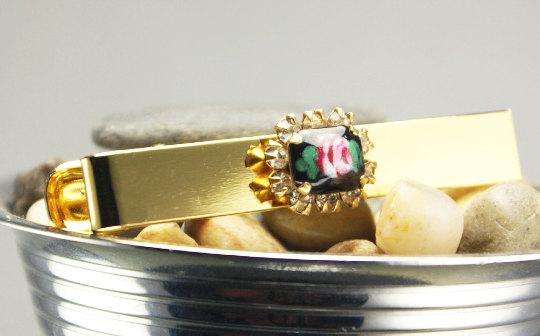 Sweet little glass pink and black rose gold tie bar. Mr & Mrs Renaissance @ MRM-accessories.com
