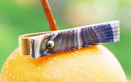 German pressed glass & brass slip style tie bar for narrow ties. MRM-accessories.com