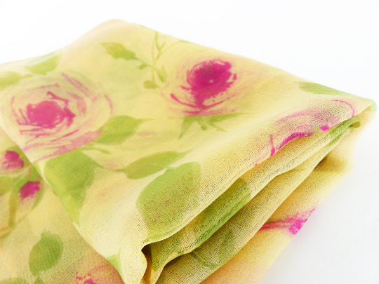 Ahhhh Silk Chiffon. Pink Roses with rolled hem MRM-accessories.com
