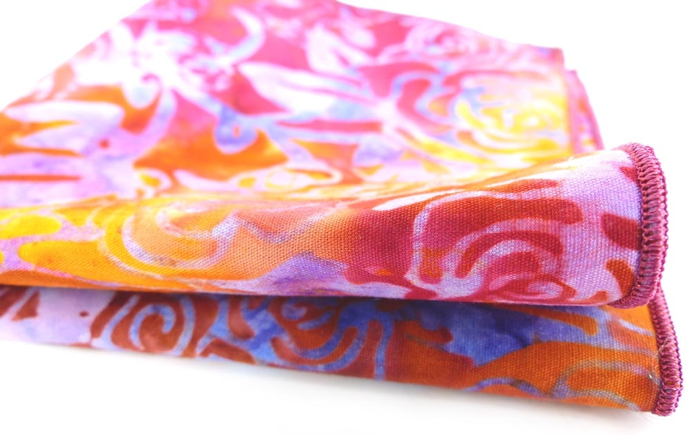 Tequila Sunrise Batik cotton pocket square. MRM-accessories.com