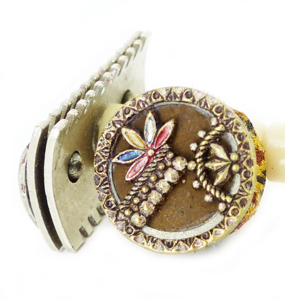 """1918 Antique Victorian painted """"Leaves & Dots"""" golden brass and steel design with brown background. Magnetic tie tack. Wear it mid way down your tie, or right under the knot....Boardwalk Empire style. This design is truly amazing with the techniques that were used. Wear a bit of History!"""