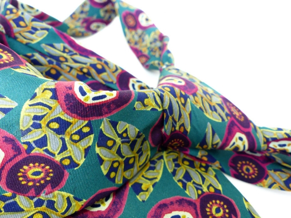 Gorgeous  Talbott studio for Nordstrom  silk necktie. Abstract floral design in a kelly green, pale green, magenta and gold. $28