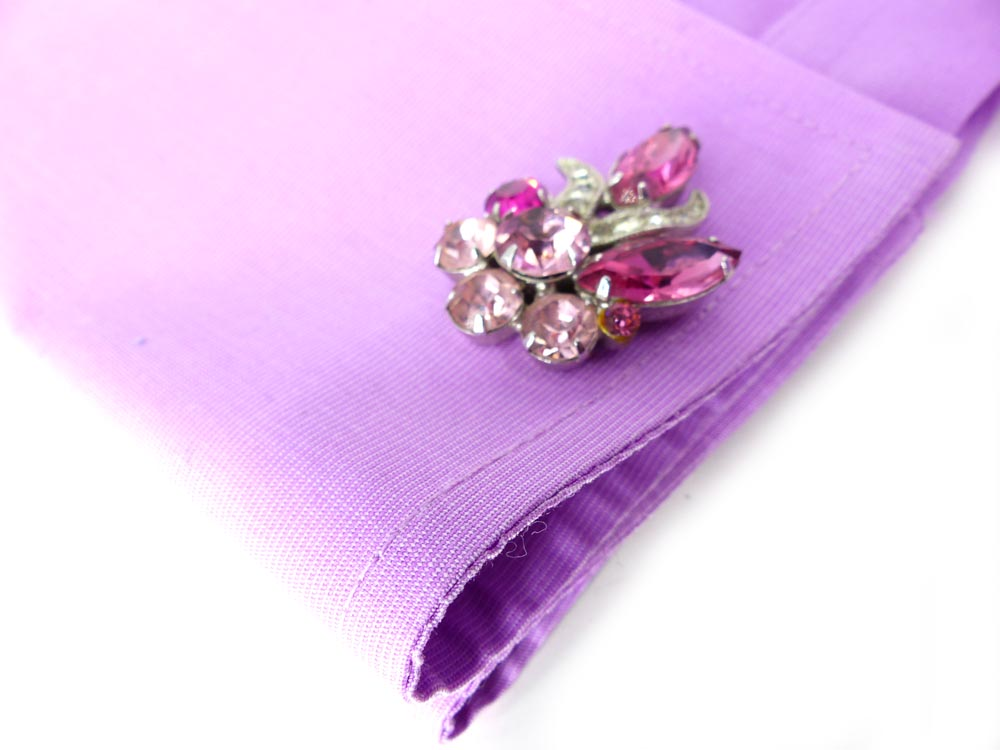 Gorgeous and feminine pink and clear crystal set of women's cufflinks to add a sparkle to your business suit.