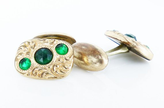Antique bean swivel green crystal cufflinks