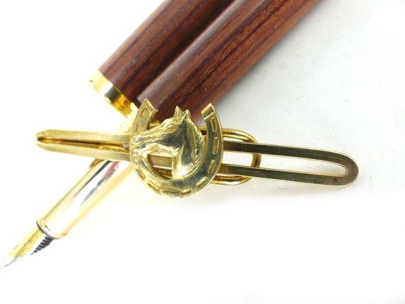 Peaky Blinder Style. Horse tie bar. Raw brass slip style loop tie bar