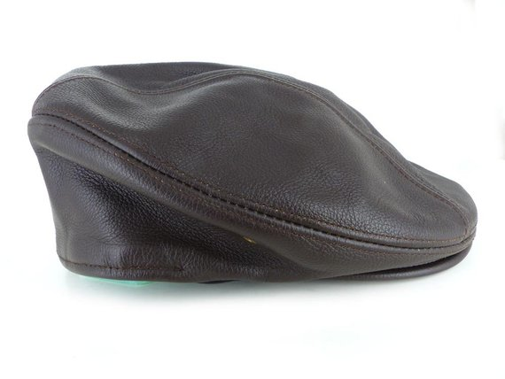 His or hers dark brown leather ivy, drivers, newsboy cap