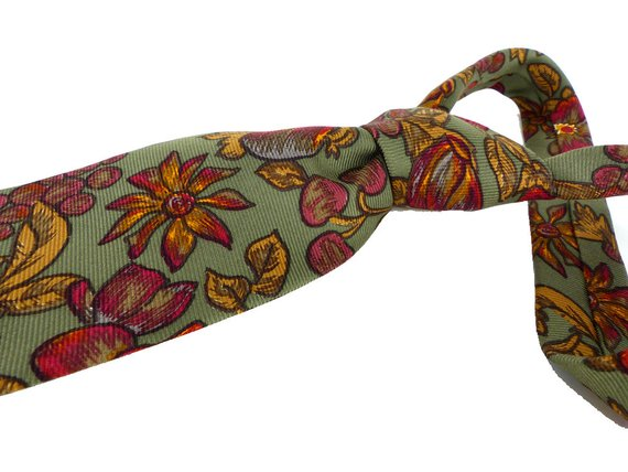 Hand sewn in Italy for Nordstrom beautiful floral and berry silk tie in sage, gold and cranberry