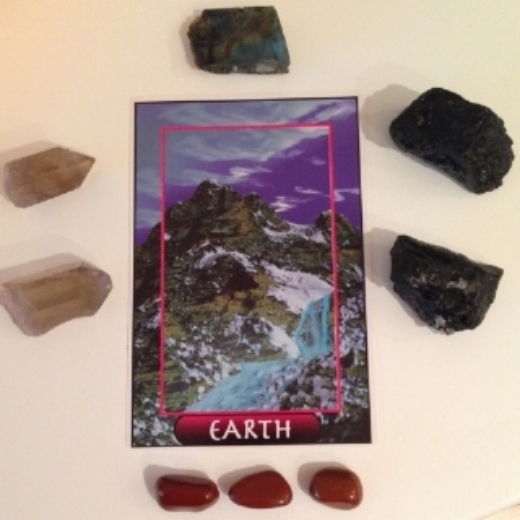 Earth card with Labradorite, Black Tourmaline, Smoky Quartz + Red Jasper.