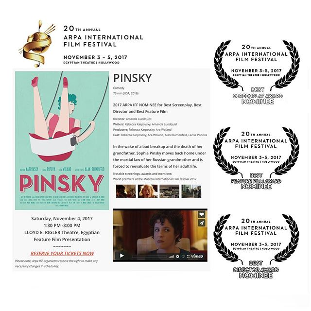 @arpafilmfestival nominations for @pinskythemovie! Oh lala. #filmfestival #nomination #festivaltour #losangeles #director #writer #movie