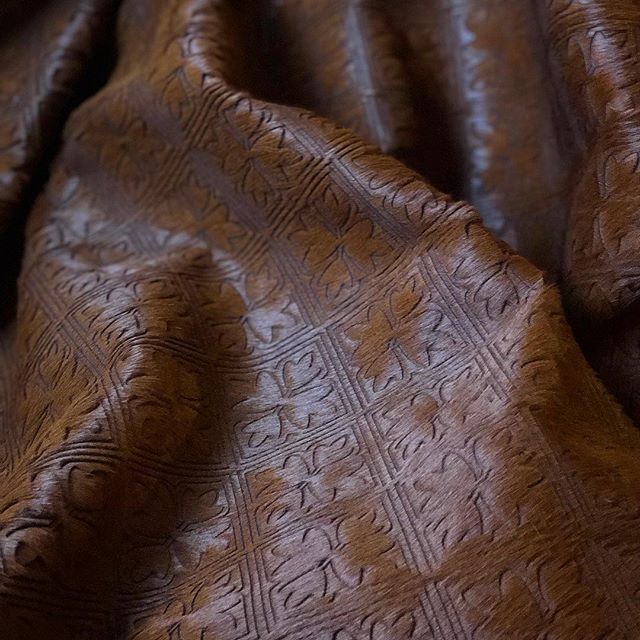 New custom design for our client KNA on beautiful chestnut hair on hide. #luxuryleather