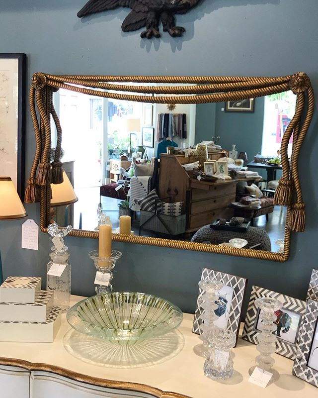 """Mirror Mirror on the Wall"" How beautiful is this stately vintage Venetian gold finished rope framed heavy metal mirror?  We love the beautiful detailing of the rope, the tassels and we've put in a brand new mirror! It took my breath away when I first saw it!  A fantastic addition to any wall. 41""w x 24""h x 3.5""d . . #maudewoodsstore #maudewoods #mirror #walldecor #homedecor #vintage #venetiangold #venetiangoldfinish #rope #tassels #metal #accentpiece #itsallinthedetails #breathtaking #shopsmall #shoplocal #shoppasadena"