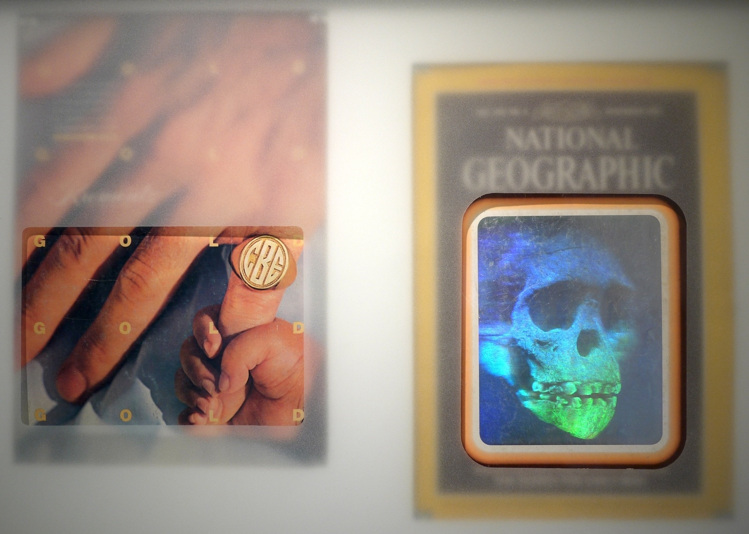 "November 1985, 2014, 15""x20"", two November 1985 issues of National Geographic, wood, frame, frosted glass"