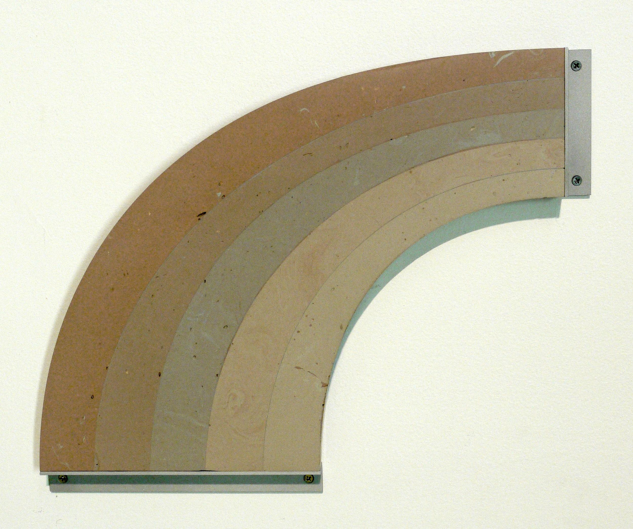 "Bondo Rainbow, 2014, 22""x18""x2"", bondo, aluminum,hardware"