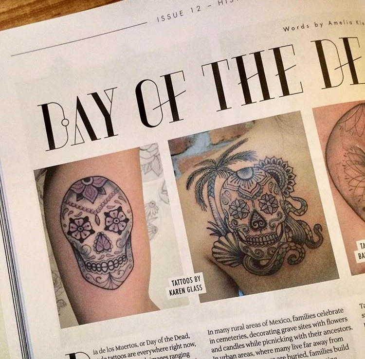 Photo feature in Things and Ink Magazine for Day Of The Dead skulls.