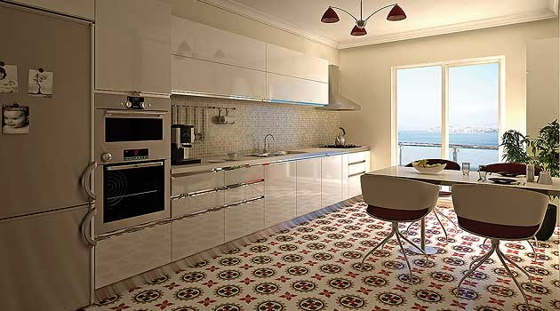 Kitchen with clean lines make a statement with encaustic cement tiles