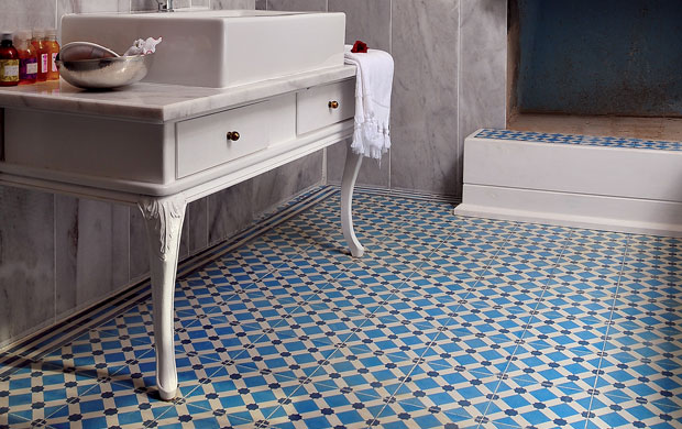 Beautiful blue tiled bathroom floor