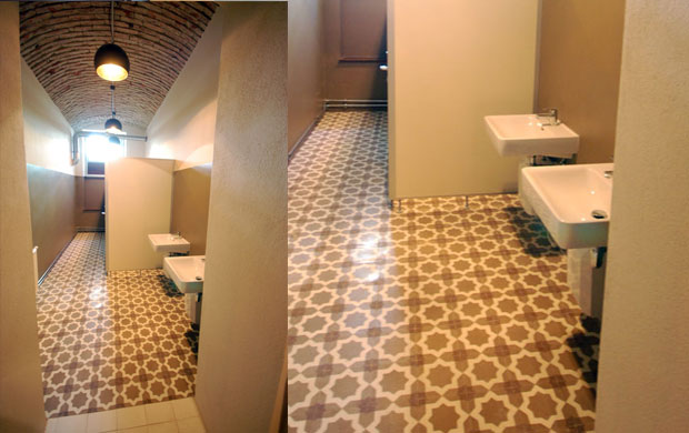 Encaustic cement tiled bathroom floor