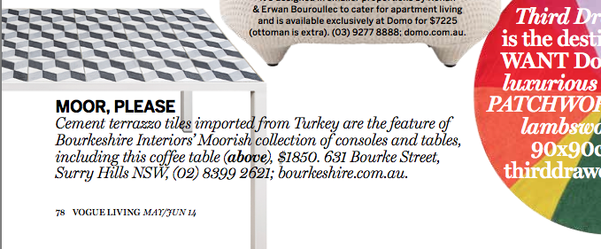 Bourkeshire Interiors Custom Made Table Tile Top Tables