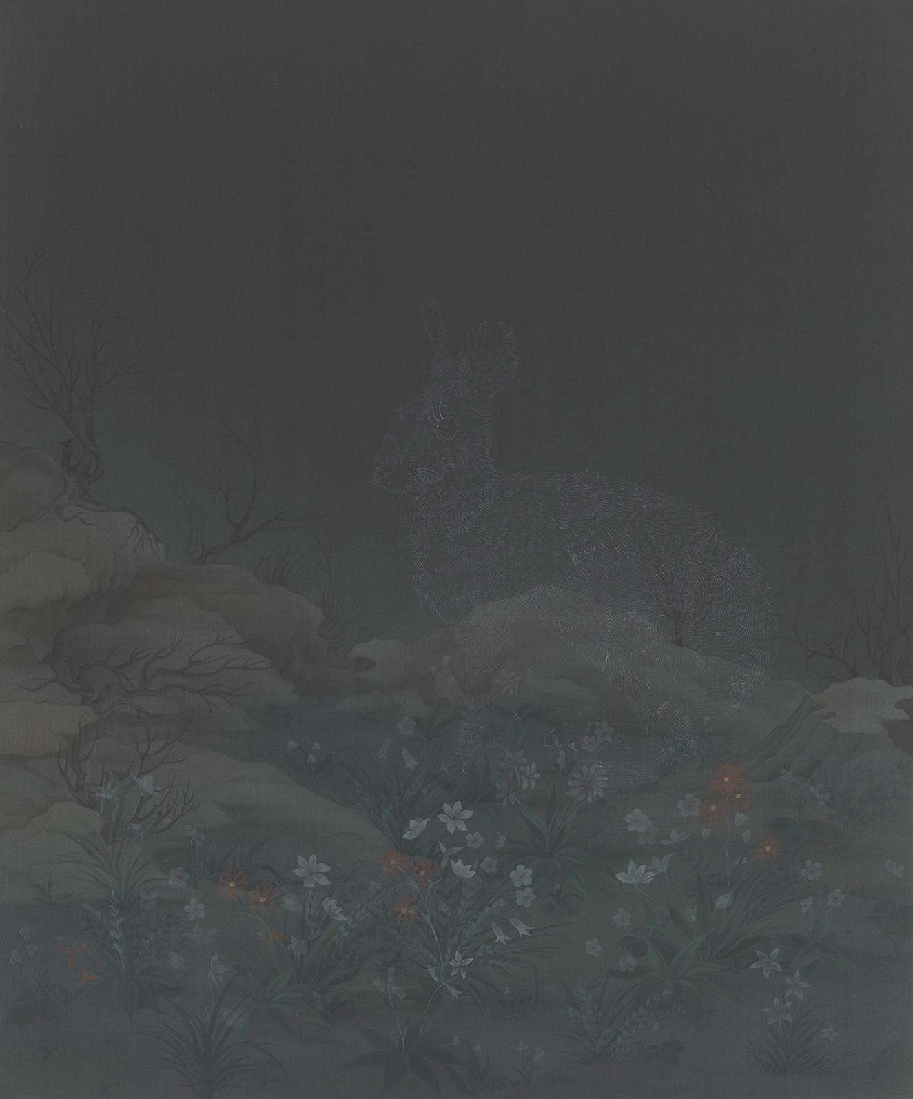 Hao Liang 郝量, Theology and Evolution 神学与进化论 (Left Panel 左), 2011, Ink and color on silk 绢本重彩, 72 x 86.5 cm
