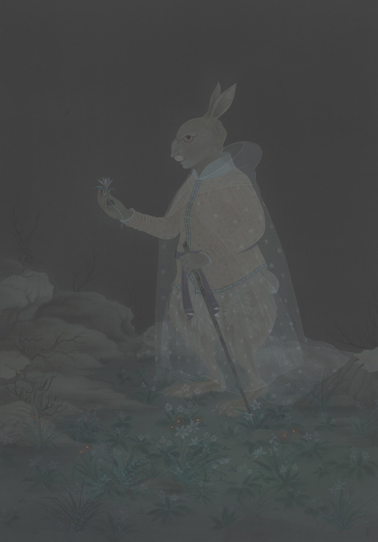 Hao Liang 郝量, Theology and Evolution 神学与进化论 (Center Panel 中), 2011, Ink and color on silk 绢本重彩, 120 x 84 cm