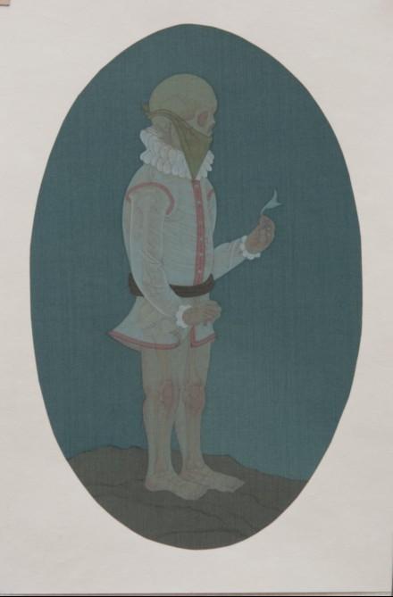 Hao Liang 郝量, Dissection Series-1 移用解剖学-1, 2011, Ink and color on silk 绢本重彩, 24.5 x 16 cm