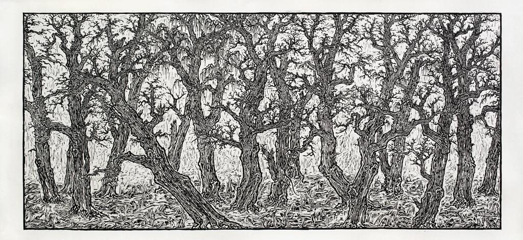 Ni Youyu 倪有鱼, View of History I 历史观 1, 2013, Woodcut print on paper 纸本黑白木刻, 92 x 200 cm, edition of 9