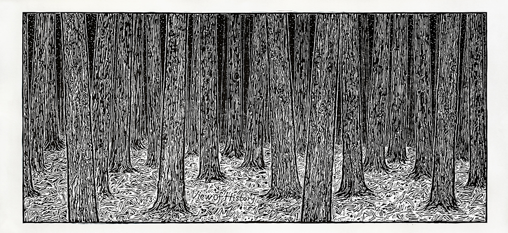 Ni Youyu 倪有鱼, View of History II 历史观 2, 2013, Woodcut print on paper 纸本黑白木刻, 92 x 200 cm, edition of 9