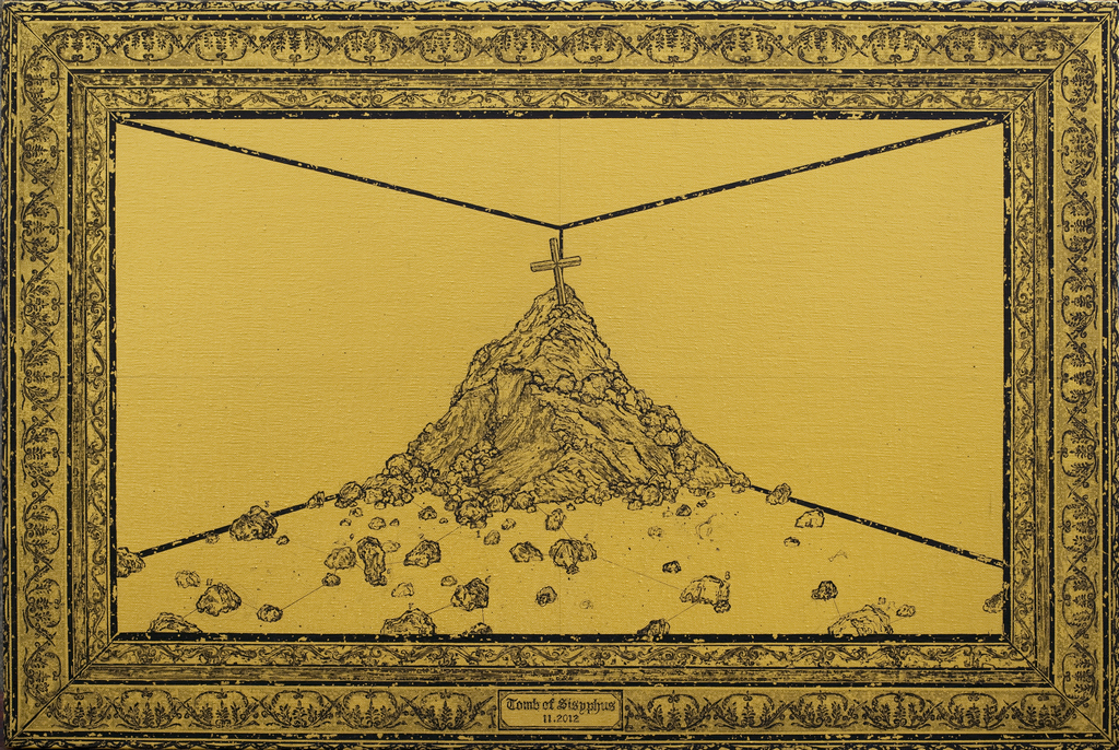 Ni Youyu 倪有鱼, Tomb of Sisyphus 西西弗斯之冢  , 2012, Acrylic on canvas 布面丙烯, 60 x 90 cm