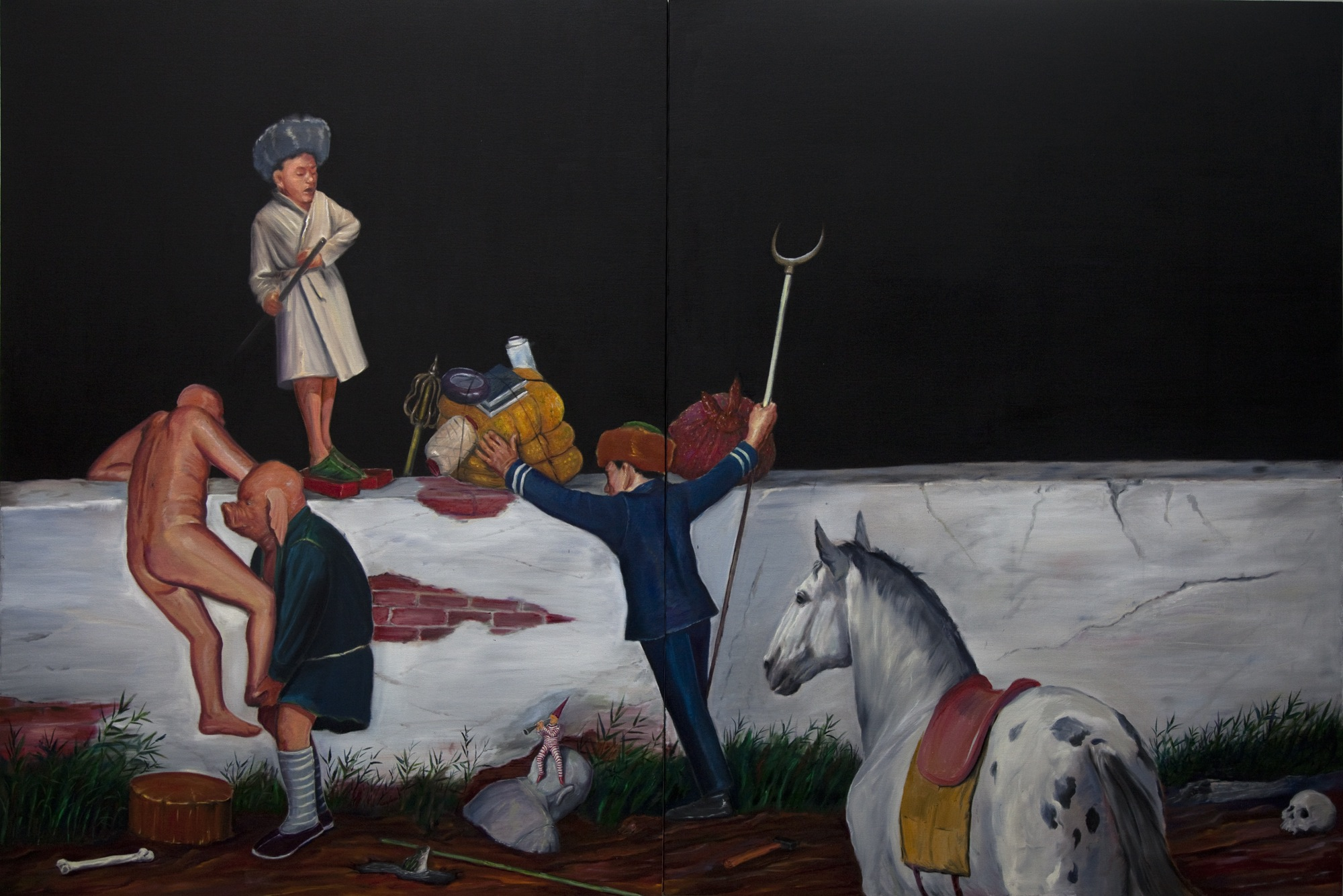 Wu Junyong 吴俊勇, Journey to the Other Side of the Wall 翻墙记, 2011, Oil on canvas 布面油画, 200 x 300 cm