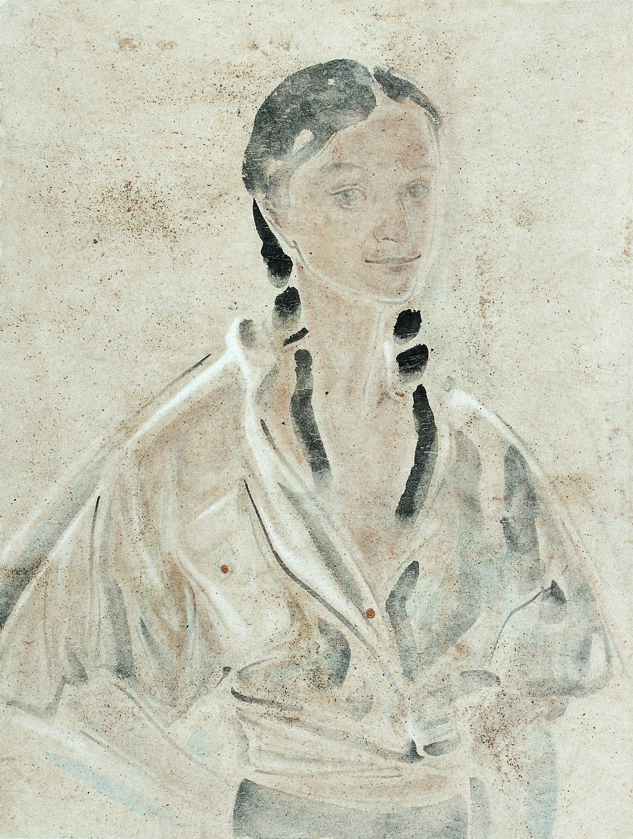 Pan Wenxun 潘汶汛, Silvery Grey 银灰石露, 2007, Chinese ink and mineral color on rice paper 纸本水墨设色, 110 x 70 cm