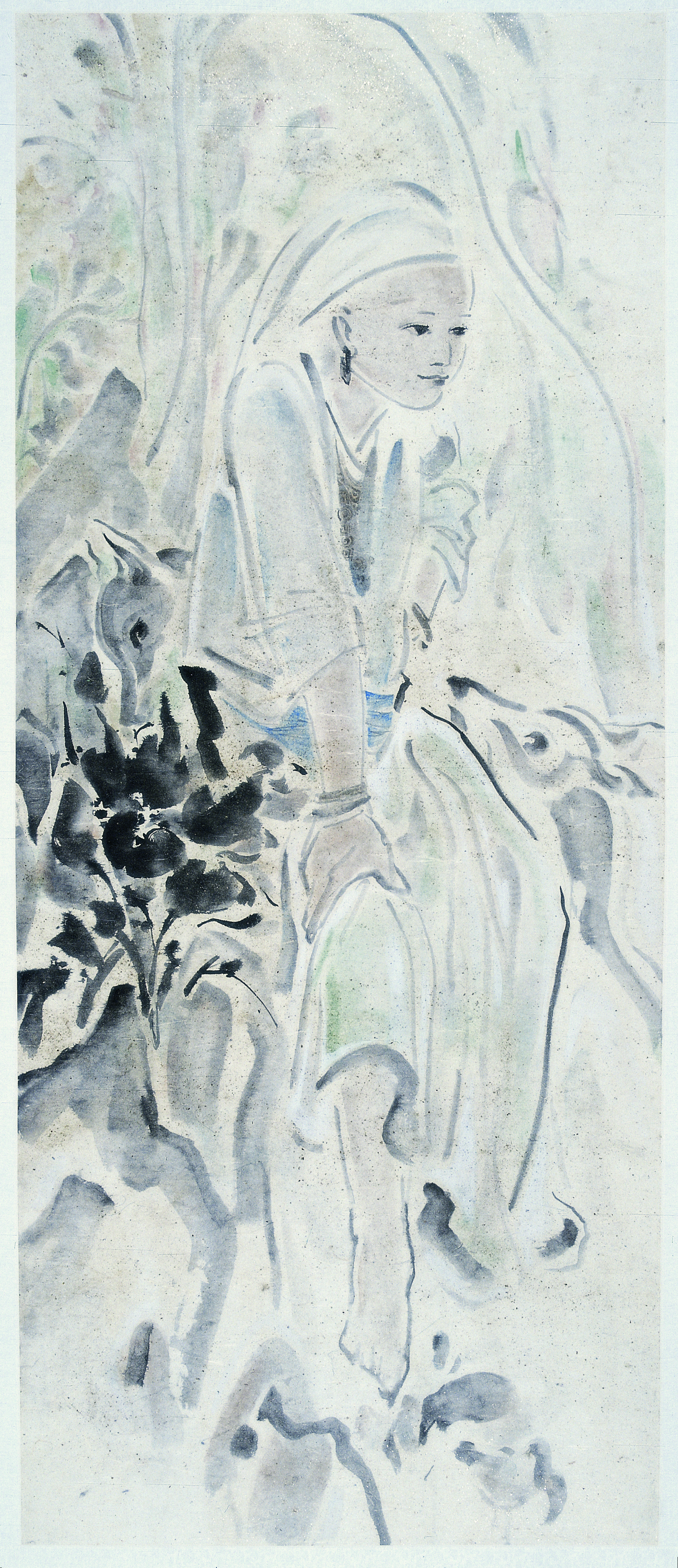 Pan Wenxun 潘汶汛, Rest 栖, 2005, Chinese ink and mineral color on rice paper 纸本水墨设色, 142 x 66 cm