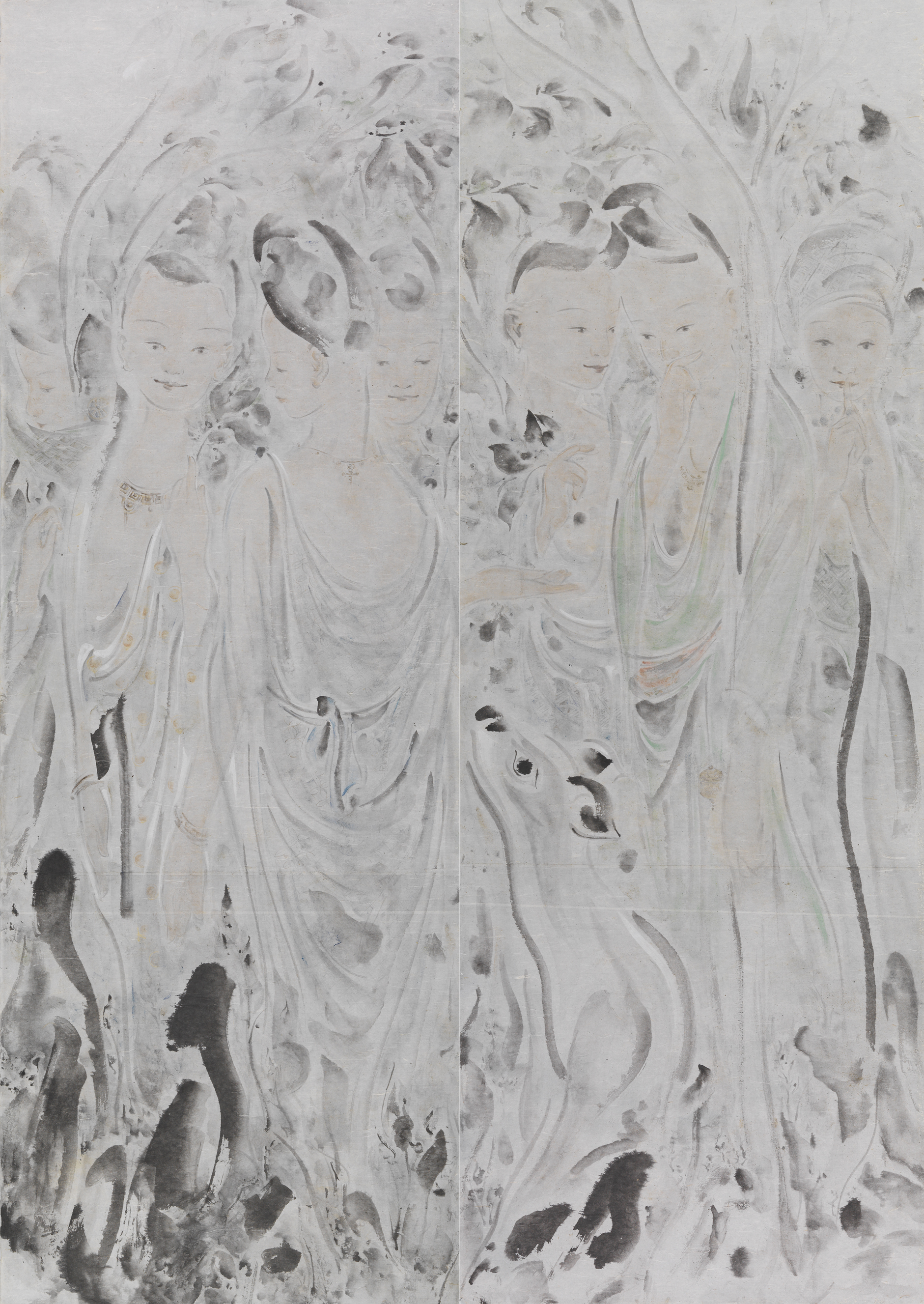 Pan Wenxun 潘汶汛, Spring in the Deer Park 春在野鹿苑, 2011, Chinese ink and mineral color on rice paper 纸本水墨设色, 210 x 150 cm