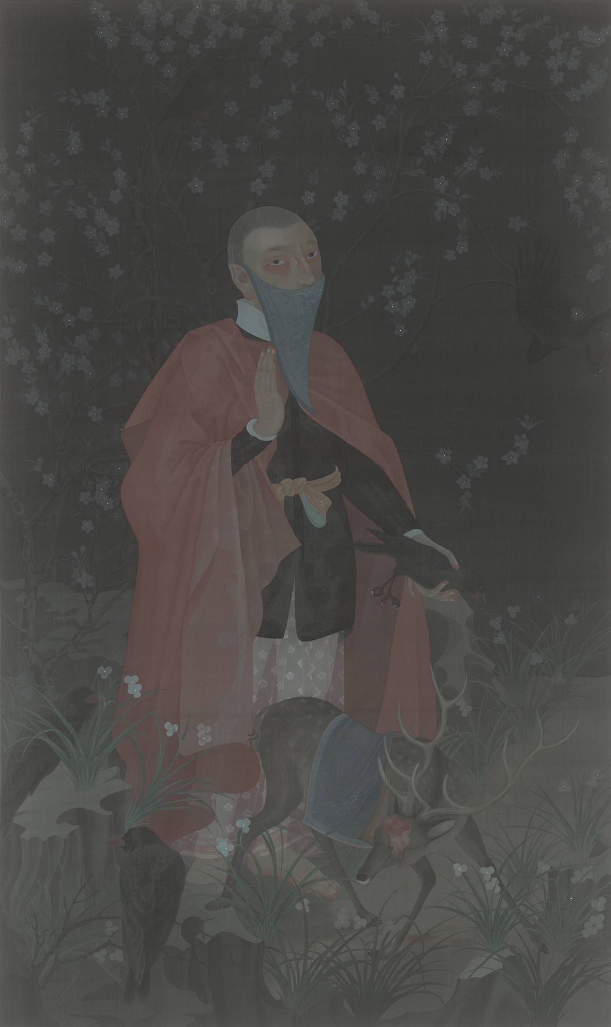 Hao Liang 郝量, Searching the Mountains 搜山图, 2011, Ink and color on silk 绢本重彩, 240 x 150 cm