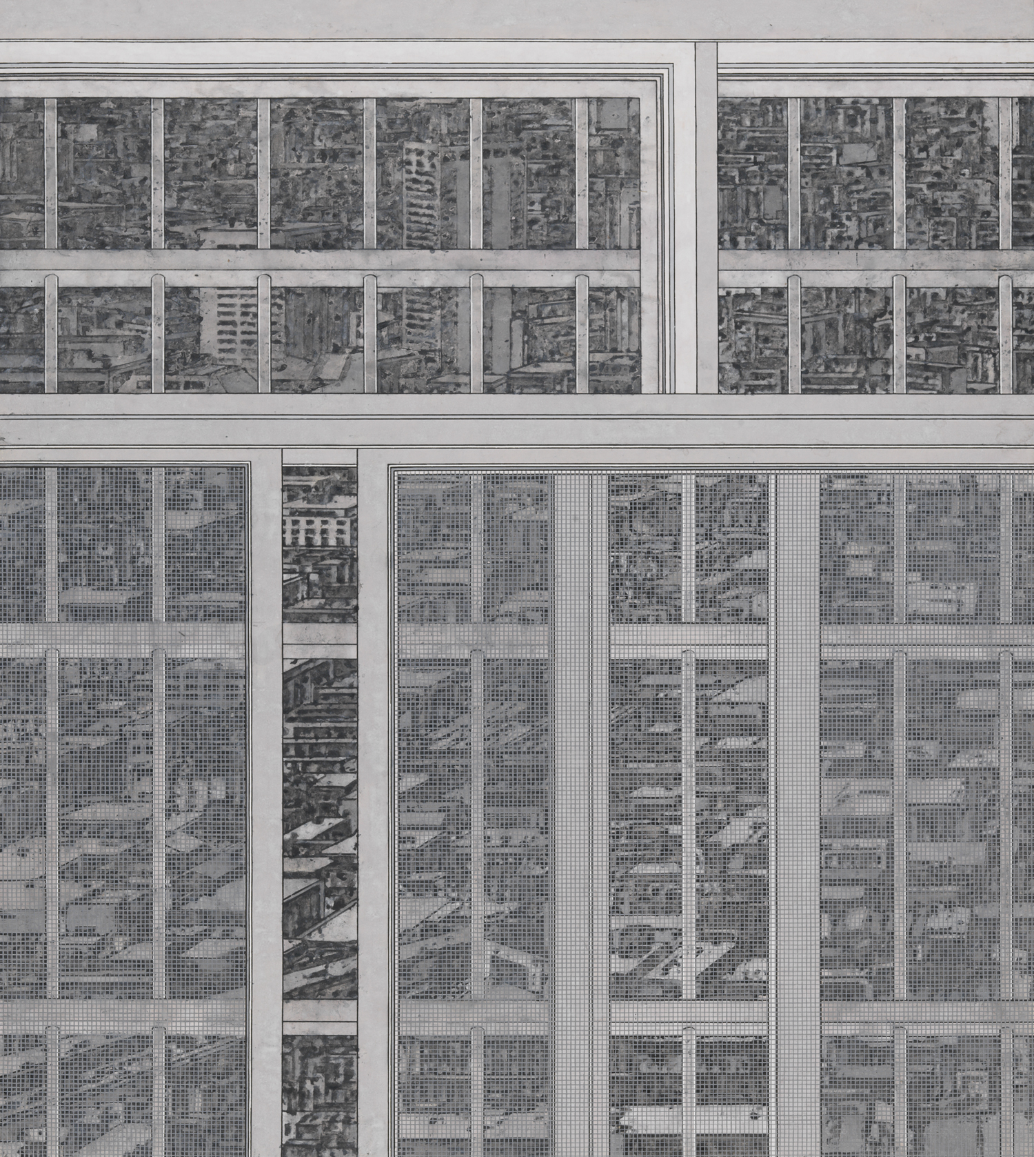 Peng Jian 彭剑, One Meter Away - Window, Glass, Screen, City 一米以外 — 窗, 玻璃, 保笼, 城市, 2011, Ink and color on paper 纸本水墨设色, 132 x 118 cm