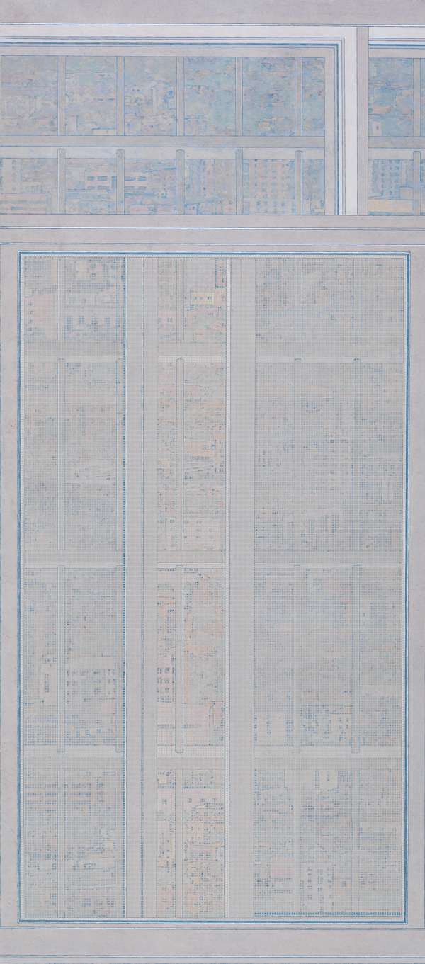 Peng JIan 彭剑, One Meter Away No.4 一米以外 (系列四), 2010, Ink and color on paper 纸本水墨设色, 200 x 100 cm