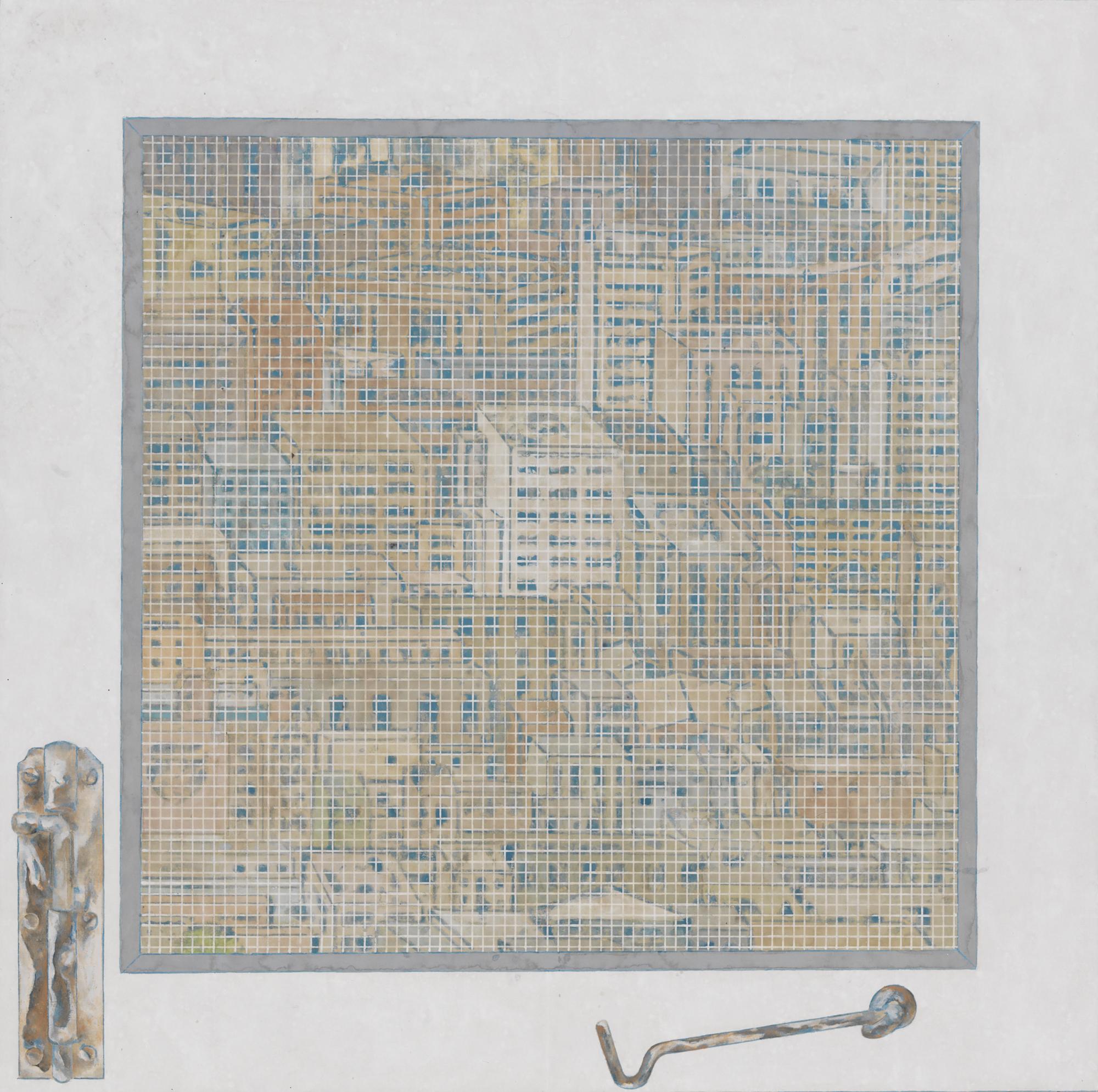Peng Jian 彭剑, White Window 白窗, 2011, Color on paper 纸本设色, 51 x 51 cm