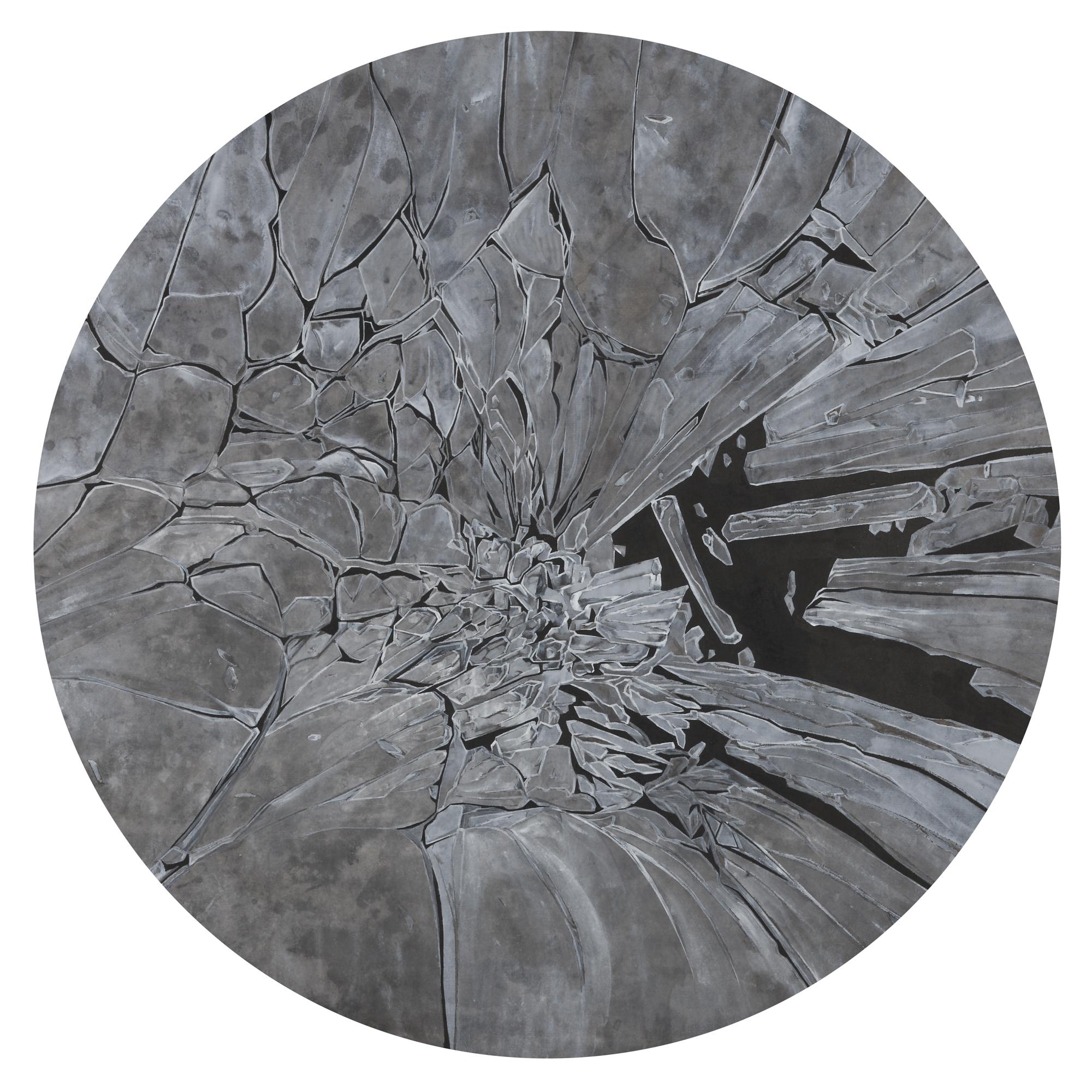Peng Jian 彭剑, Broken 碎, 2013, Ink and color on paper 纸本水墨设色, Dia 51 cm