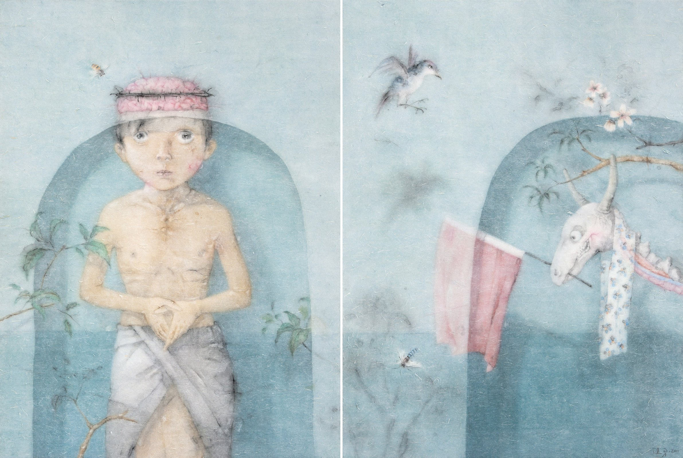 Zeng Jianyong 曾健勇, The Traditional Way 古道, 2011, Ink and color on paper 纸本设色, 95 x 128 cm x 2