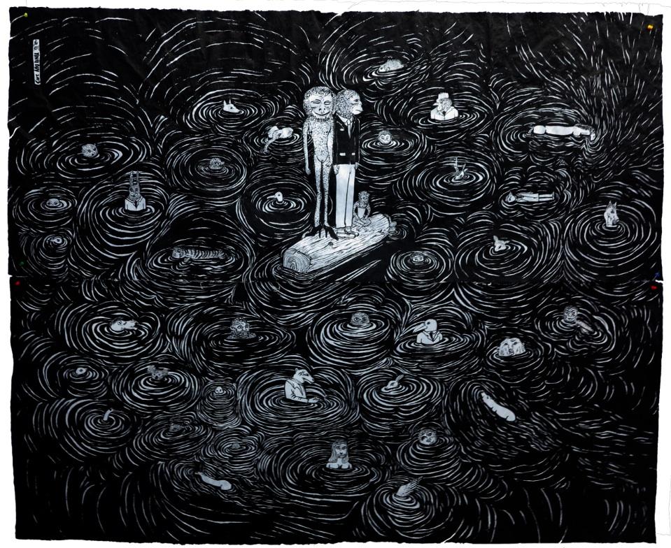 Cao Yingbin 曹应斌, Cross 渡, 2013, Ink on handmade paper 手工纸上墨色, 158 x 192 cm