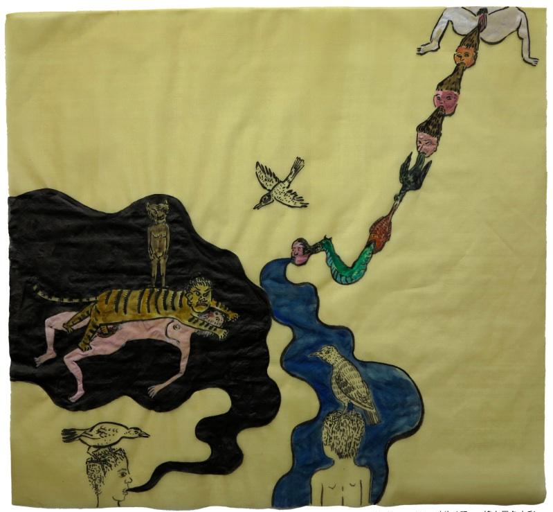 Cao Yingbin 曹应斌, Fierce Animals 动物凶猛, 2012, Ink and color on silk 锦上墨色水彩, 41 x 43 cm